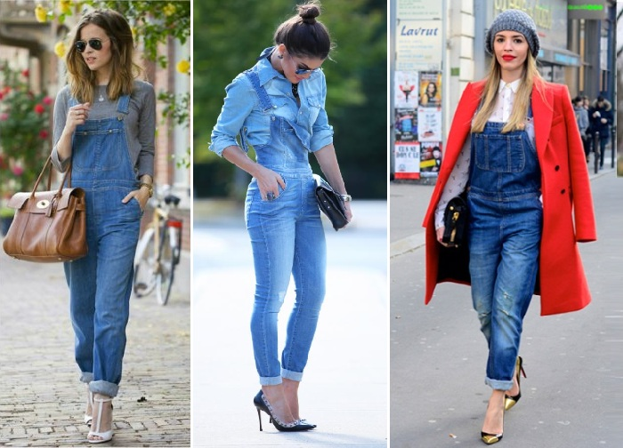 sobre jardineira jeans